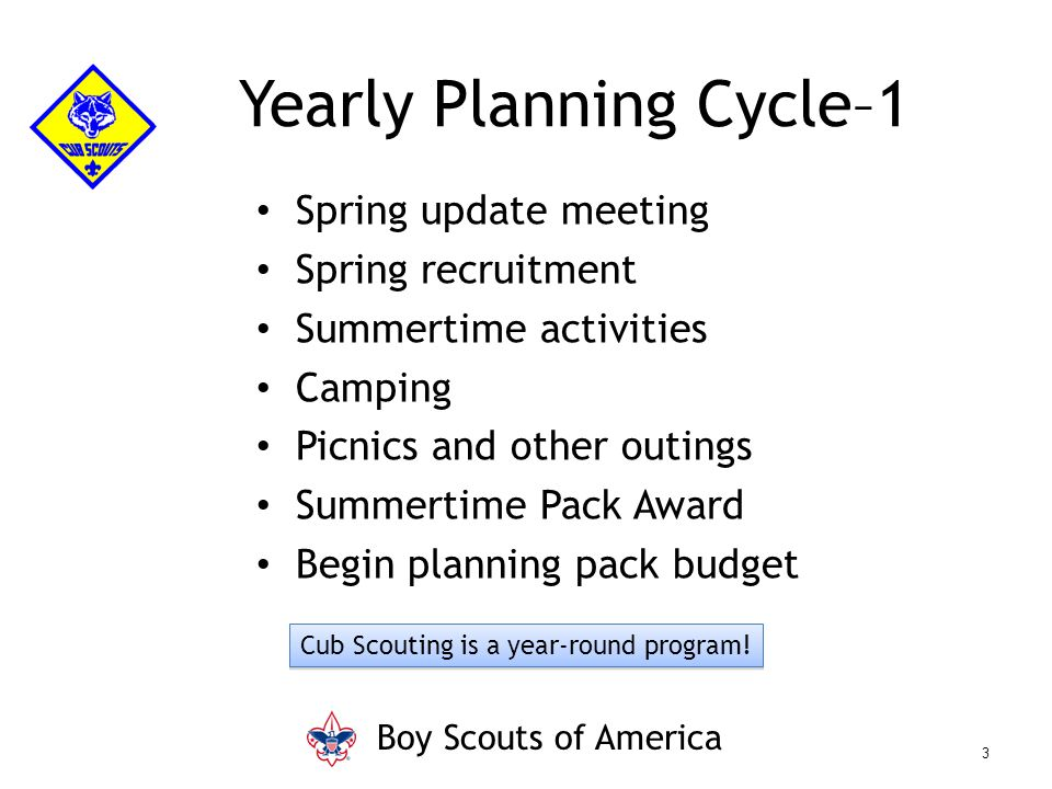 Yearly Planning Cycle–1 Spring update meeting Spring recruitment Summertime activities Camping Picnics and other outings Summertime Pack Award Begin p