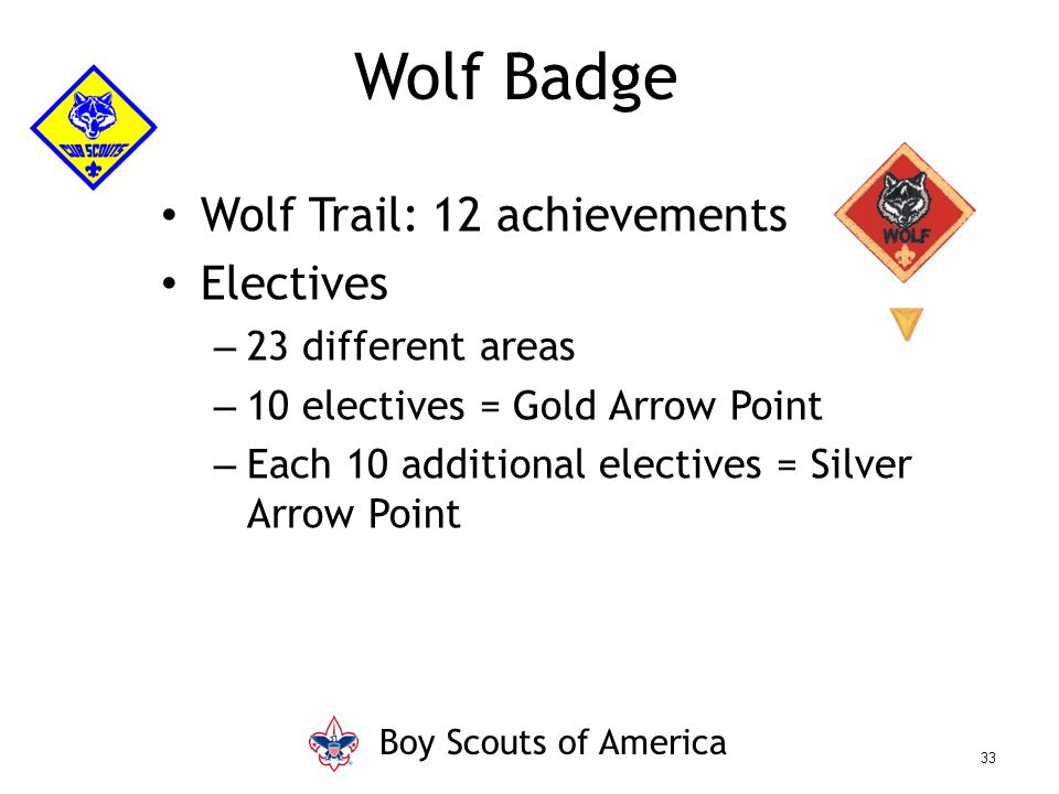 Wolf Trail: 12 achievements Electives – 23 different areas – 10 electives = Gold Arrow Point – Each 10 additional electives = Silver Arrow Point Wolf