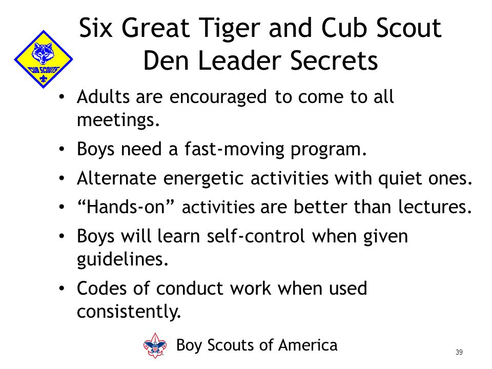 "Adults are encouraged to come to all meetings. Boys need a fast-moving program. Alternate energetic activities with quiet ones. ""Hands-on"" activities"