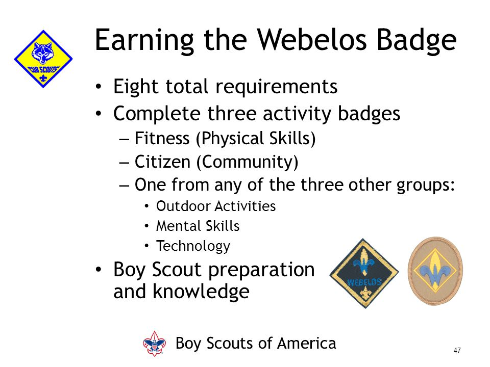Eight total requirements Complete three activity badges – Fitness (Physical Skills) – Citizen (Community) – One from any of the three other groups: Ou