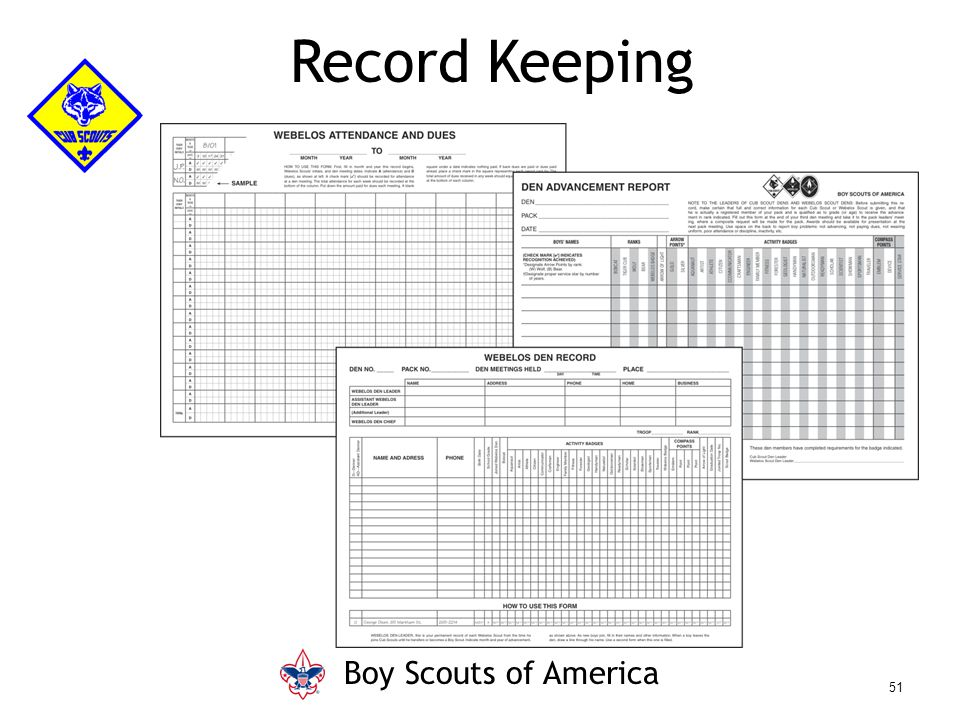 Record Keeping Boy Scouts of America 51