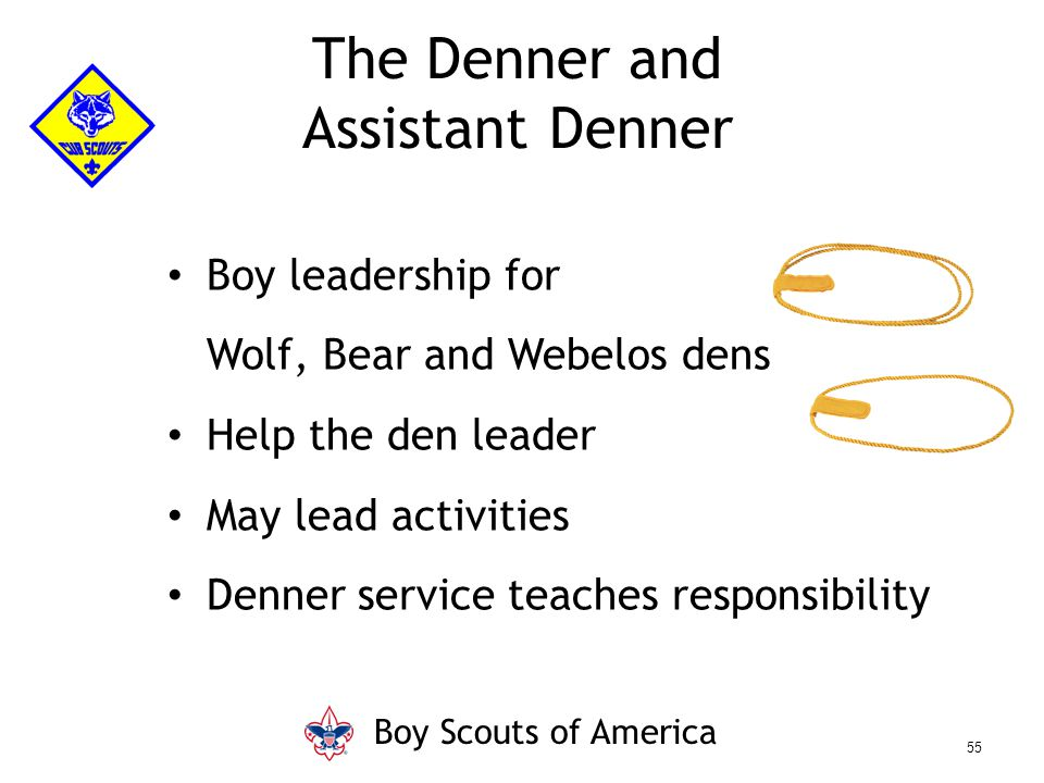 Boy leadership for Wolf, Bear and Webelos dens Help the den leader May lead activities Denner service teaches responsibility The Denner and Assistant