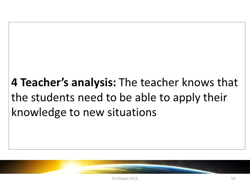 Eli Ghazel 201554 4 Teacher's analysis: The teacher knows that the students need to be able to apply their knowledge to new situations