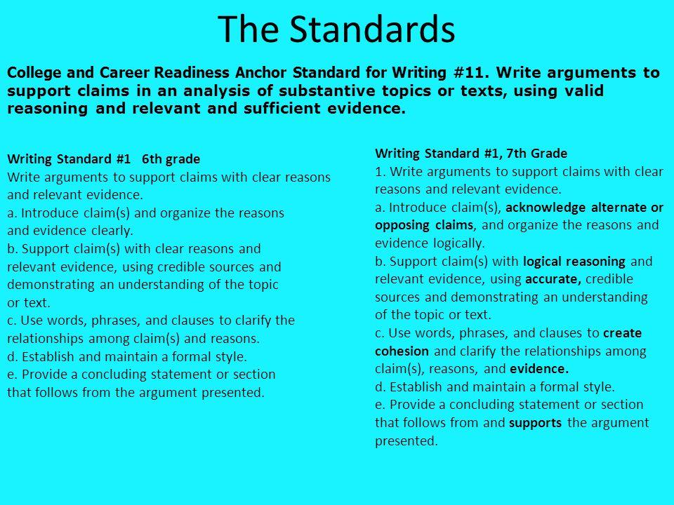Writing Standard #1, 8th Grade 1.