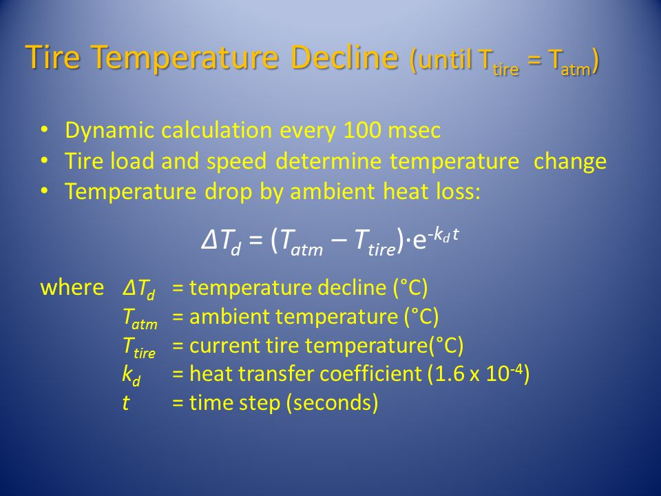 Tire Temperature Decline (until T tire = T atm ) Dynamic calculation every 100 msec Tire load and speed determine temperature change Temperature drop by ambient heat loss: ΔT d = (T atm – T tire )·e -k d t where ΔT d = temperature decline (°C) T atm = ambient temperature (°C) T tire = current tire temperature(°C) k d = heat transfer coefficient (1.6 x 10 -4 ) t= time step (seconds)