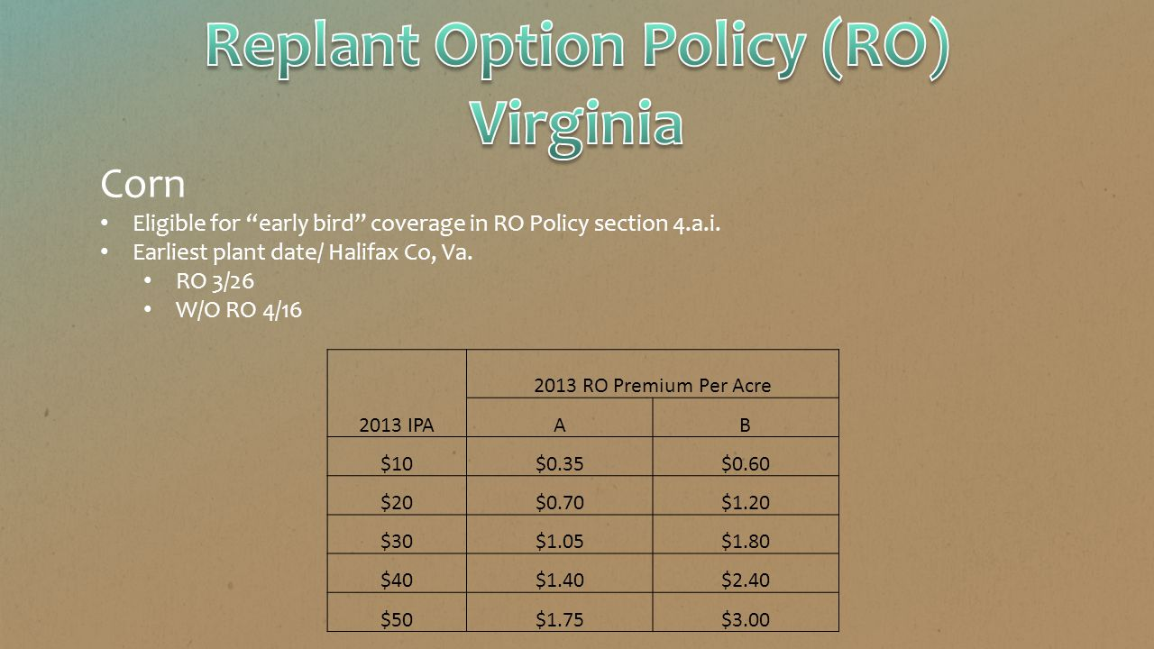 """Corn Eligible for """"early bird"""" coverage in RO Policy section 4.a.i. Earliest plant date/ Halifax Co, Va. RO 3/26 W/O RO 4/16 2013 RO Premium Per Acre"""