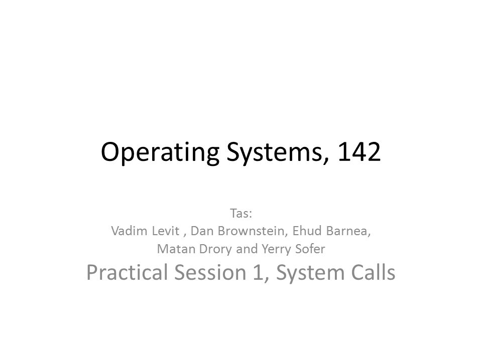 Operating Systems, 142 Tas: Vadim Levit, Dan Brownstein, Ehud Barnea, Matan Drory and Yerry Sofer Practical Session 1, System Calls