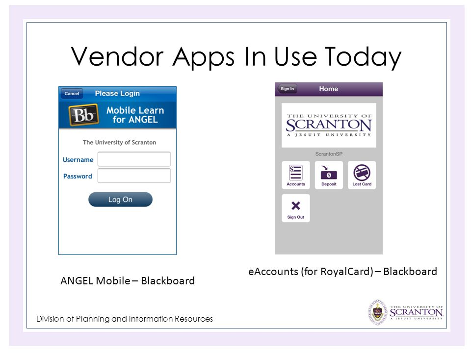Division of Planning and Information Resources Vendor Apps In Use Today ANGEL Mobile – Blackboard eAccounts (for RoyalCard) – Blackboard