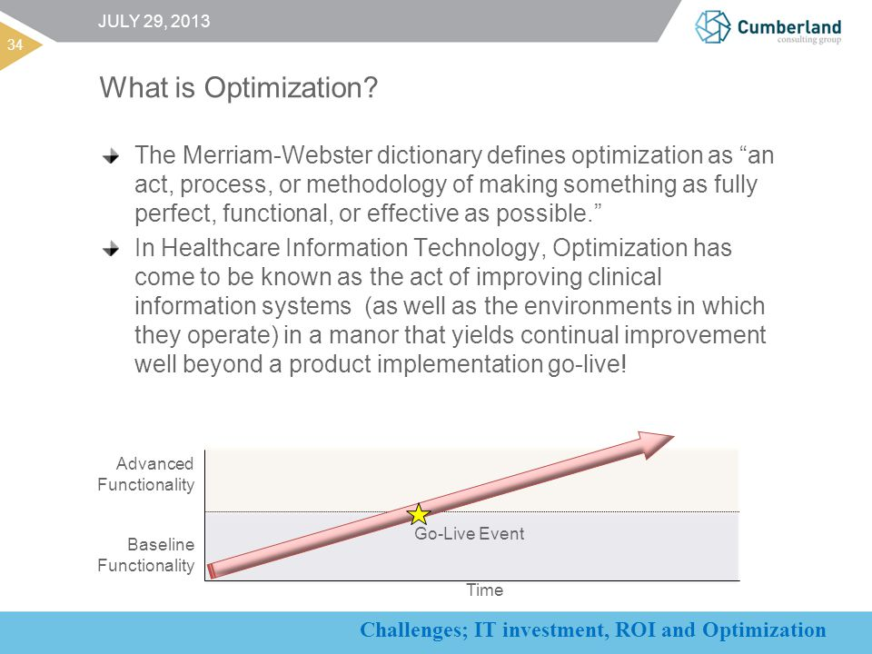 Challenges; IT investment, ROI and Optimization What is Optimization.