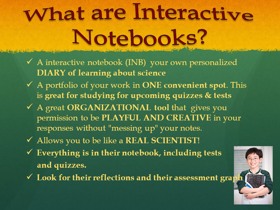 A interactive notebook (INB) your own personalized DIARY of learning about science A portfolio of your work in ONE convenient spot.