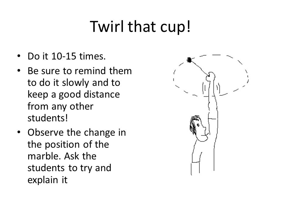 Twirl that cup. Do it 10-15 times.