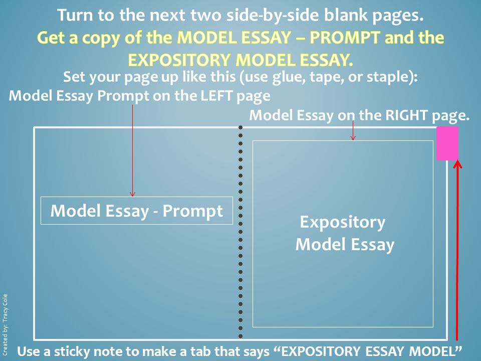 Model Essay - Prompt Expository Model Essay Set your page up like this (use glue, tape, or staple): Model Essay Prompt on the LEFT page Model Essay on the RIGHT page.