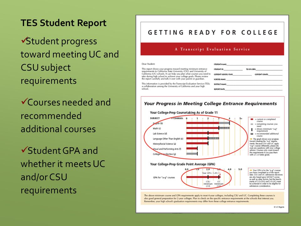 TES Student Report Student progress toward meeting UC and CSU subject requirements Courses needed and recommended additional courses Student GPA and w