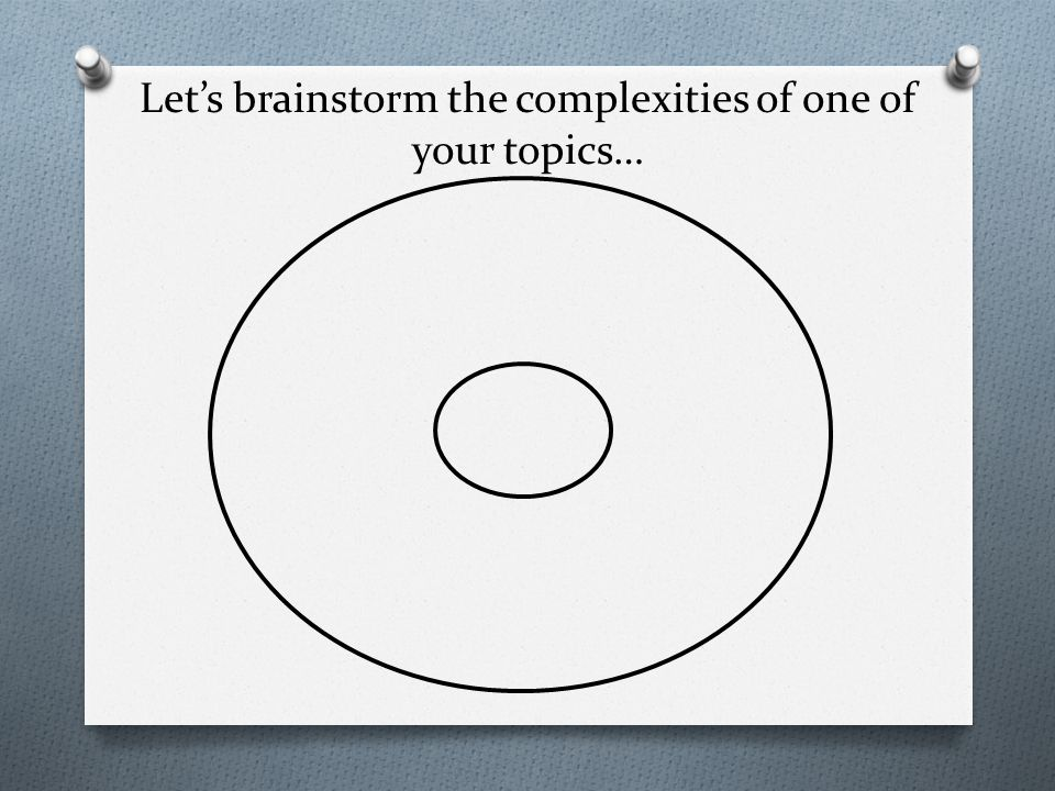 Let's brainstorm the complexities of one of your topics…