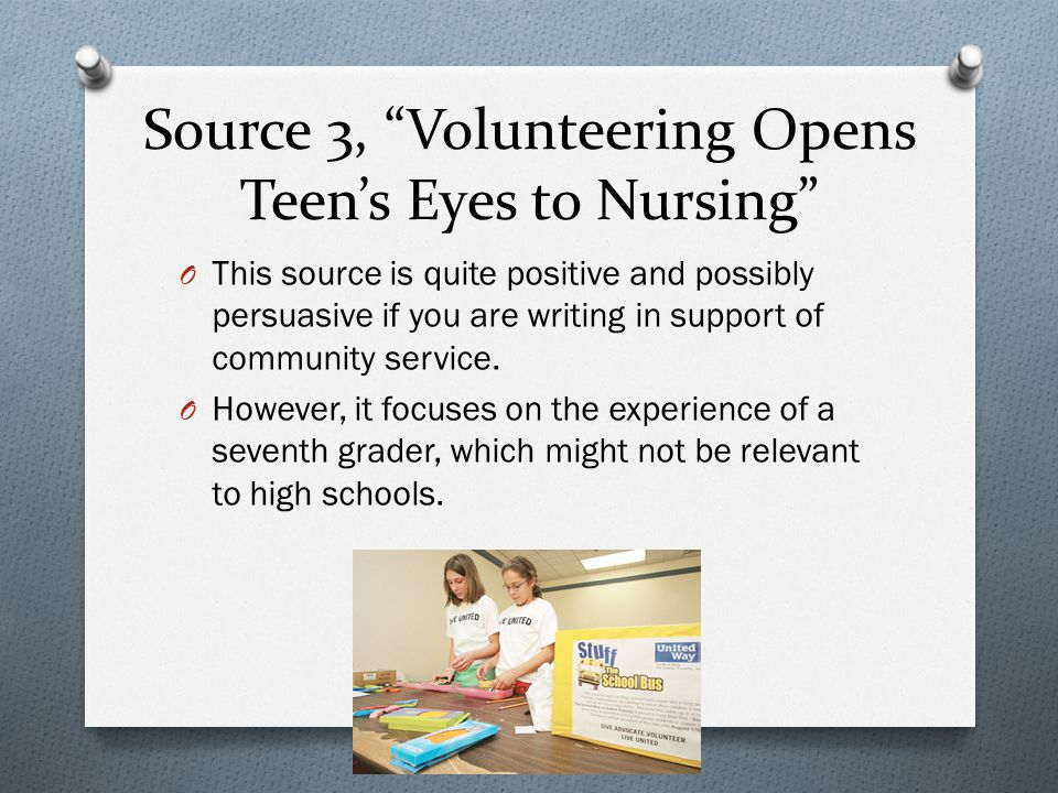 Thesis #3 O Required community service programs are beneficial to both the individuals who participate and the communities being served, as long as students have some choice in the type of service they engage in.
