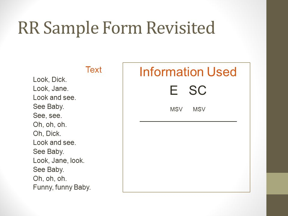 RR Sample Form Revisited Text Look, Dick. Look, Jane.
