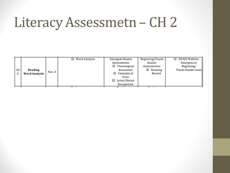 Literacy Assessmetn – CH 2