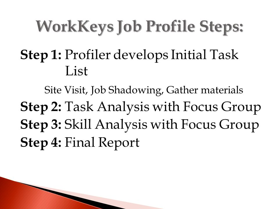 Step 1: Profiler develops Initial Task List Site Visit, Job Shadowing, Gather materials Step 2: Task Analysis with Focus Group Step 3: Skill Analysis with Focus Group Step 4: Final Report