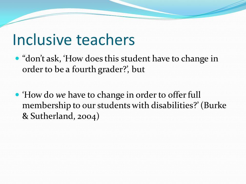 How are inclusive attitudes formed.Self efficacy Teacher efficacy Pathognomonic vs.