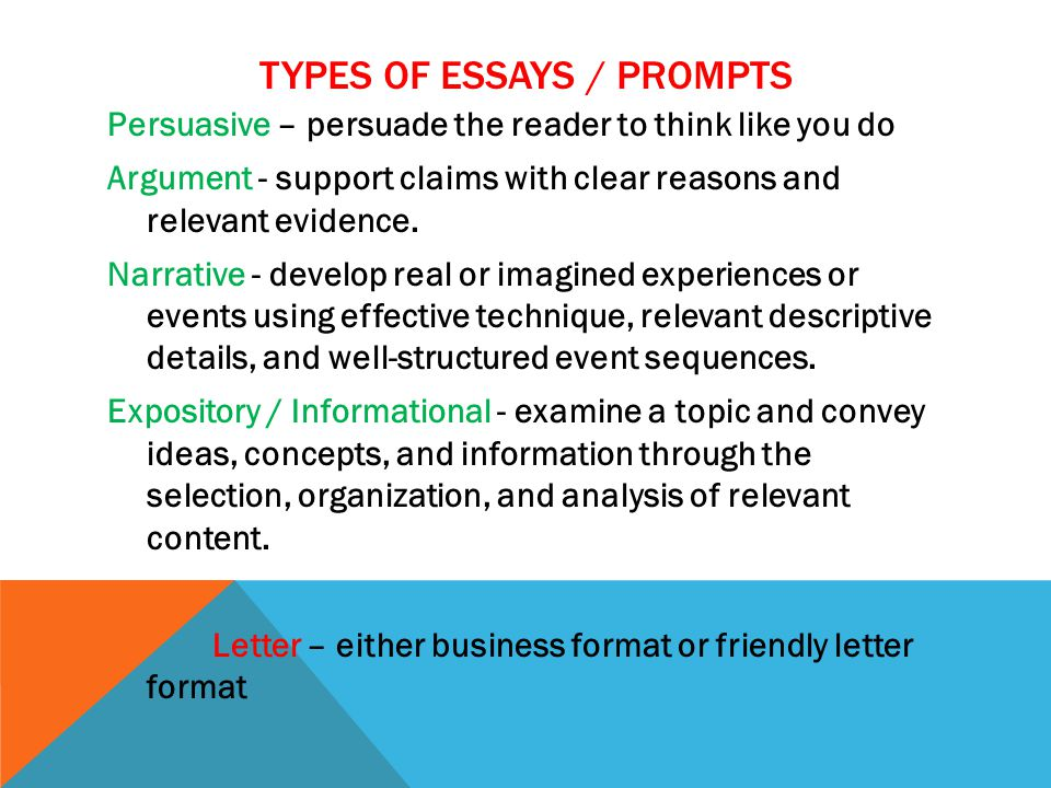 TYPES OF ESSAYS / PROMPTS Persuasive – persuade the reader to think like you do Argument - support claims with clear reasons and relevant evidence. Na