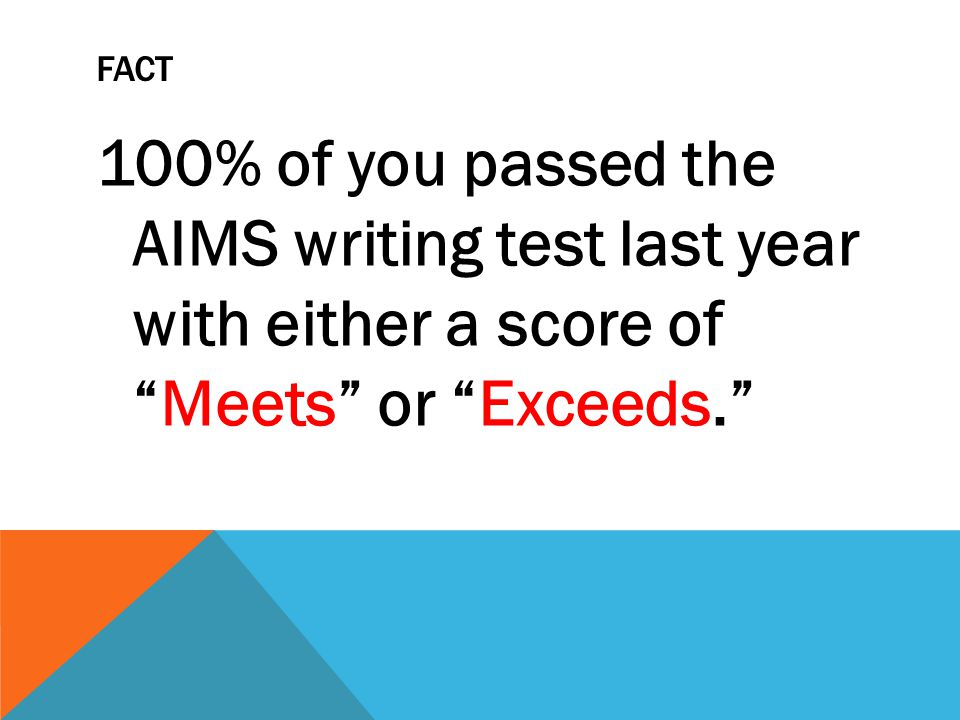 FACT Many of you were very close to reaching the Exceeds label.