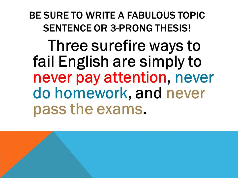 BE SURE TO WRITE A FABULOUS TOPIC SENTENCE OR 3-PRONG THESIS! Three surefire ways to fail English are simply to never pay attention, never do homework