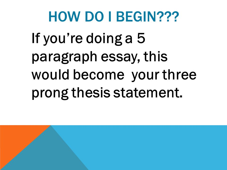 HOW DO I BEGIN??? If you're doing a 5 paragraph essay, this would become your three prong thesis statement.