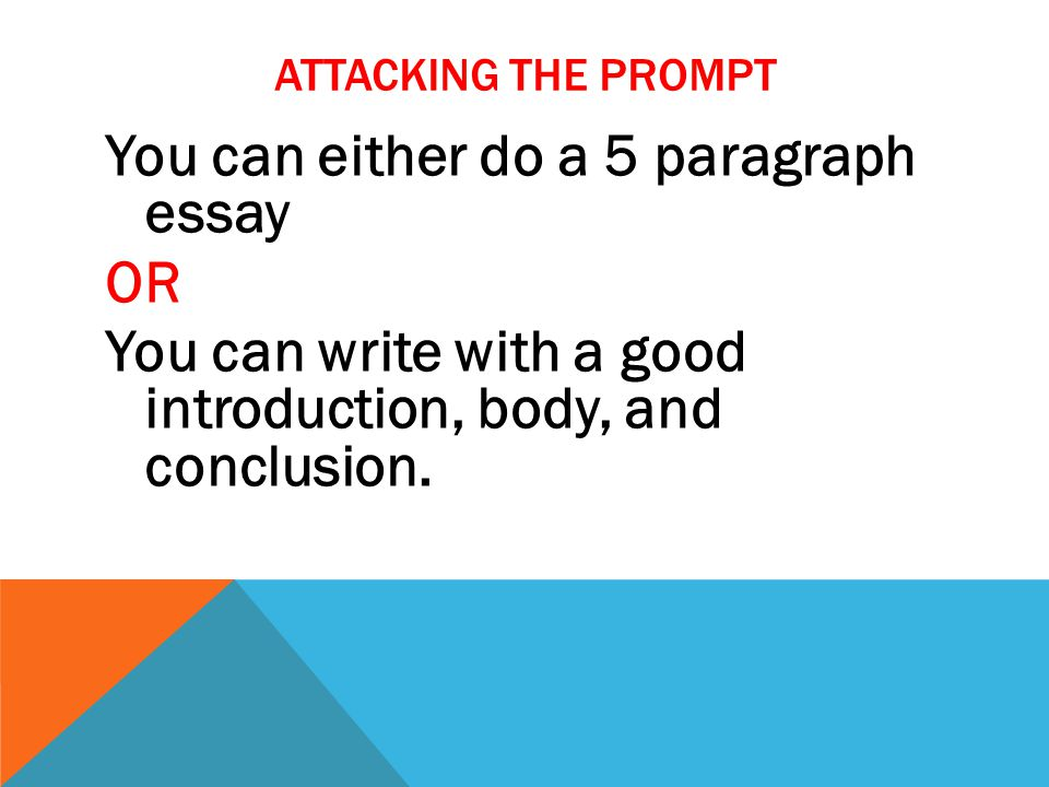 5 PARAGRAPH ESSAY FORMAT Paragraph 1 – introduction with a 3 prong thesis Paragraph 2 – body paragraph #1 Paragraph 3 – body paragraph #2 Paragraph 4 – body paragraph #3 Paragraph 5 – conclusion with a restated 3 prong thesis