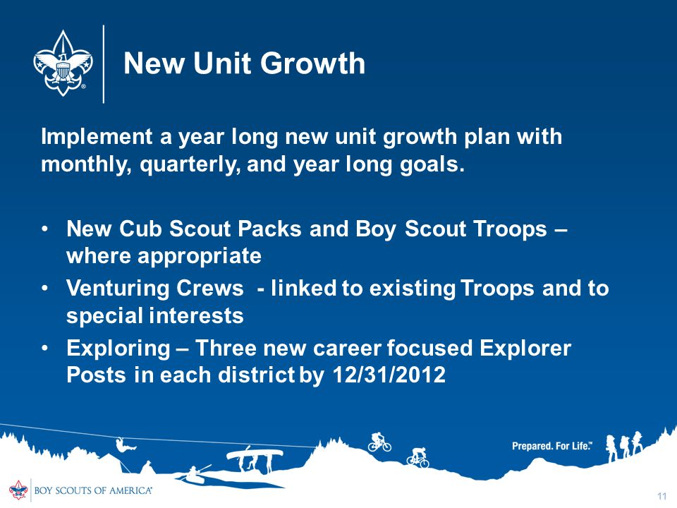 New Unit Growth Implement a year long new unit growth plan with monthly, quarterly, and year long goals. New Cub Scout Packs and Boy Scout Troops – wh