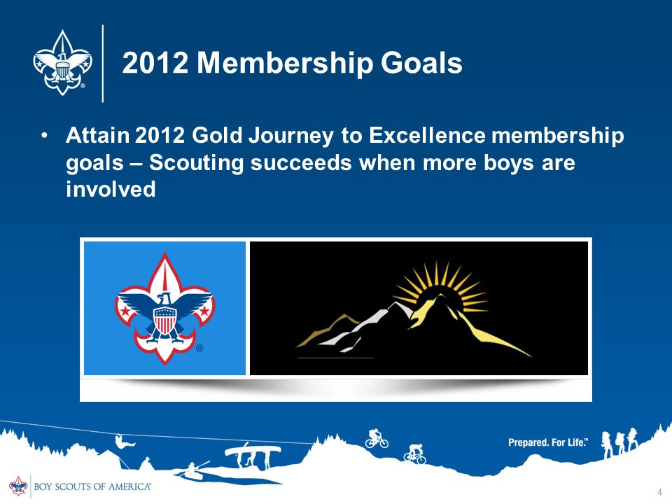 2012 Membership Goals Attain 2012 Gold Journey to Excellence membership goals – Scouting succeeds when more boys are involved 4