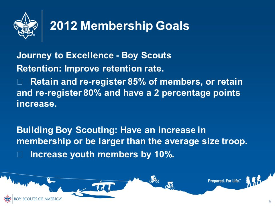 2012 Membership Goals Journey to Excellence - Boy Scouts Retention: Improve retention rate.