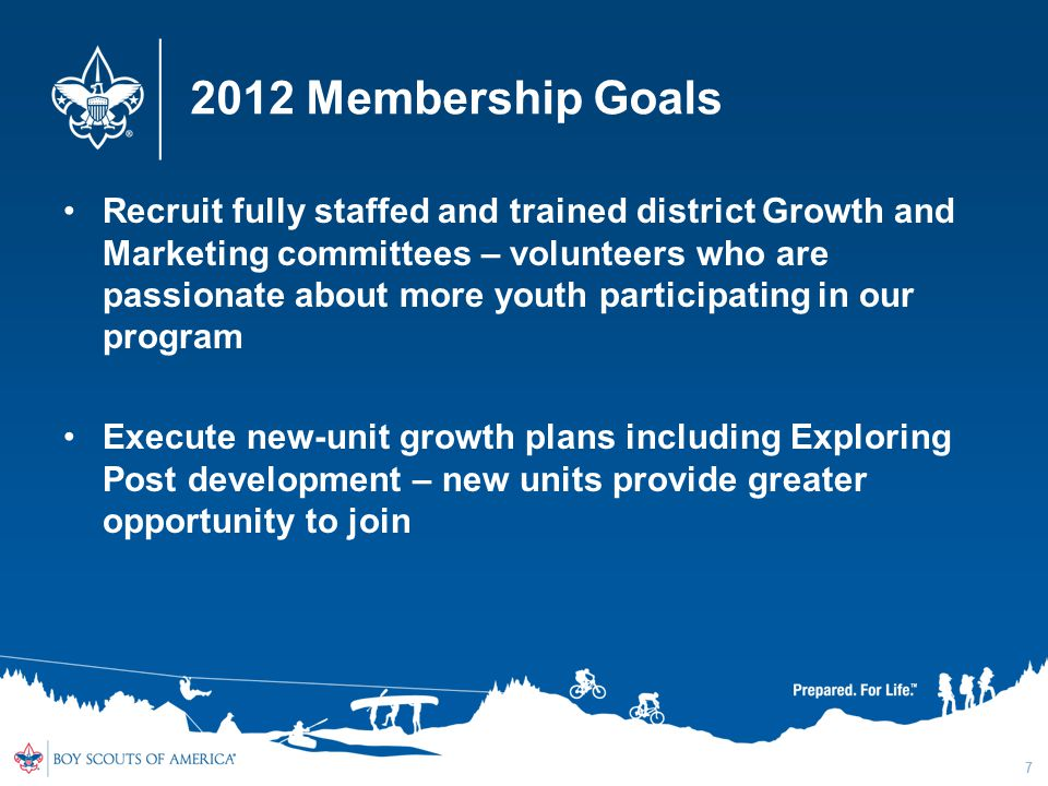 2012 Membership Goals Recruit fully staffed and trained district Growth and Marketing committees – volunteers who are passionate about more youth participating in our program Execute new-unit growth plans including Exploring Post development – new units provide greater opportunity to join 7
