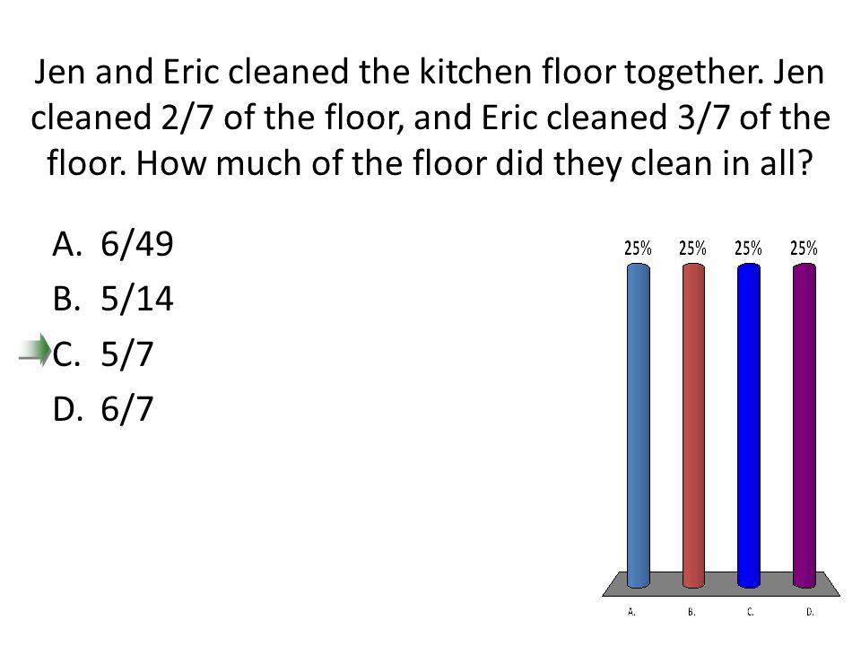 Jen and Eric cleaned the kitchen floor together. Jen cleaned 2/7 of the floor, and Eric cleaned 3/7 of the floor. How much of the floor did they clean