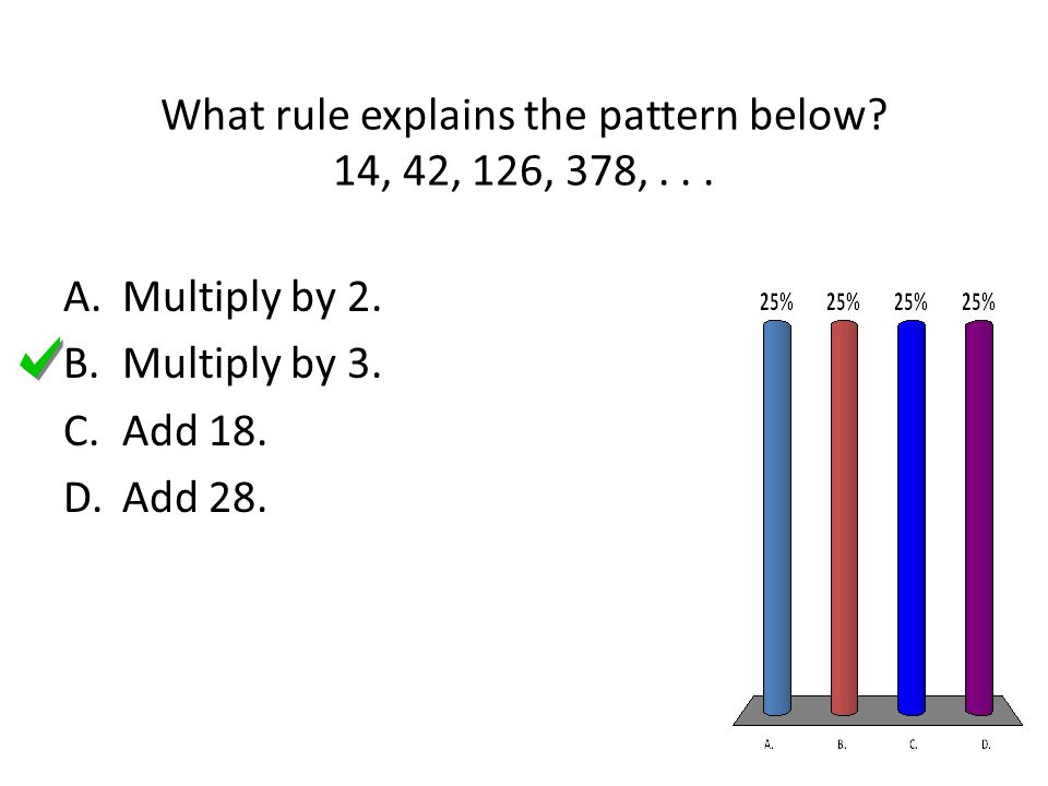 What rule explains the pattern below? 14, 42, 126, 378,... A.Multiply by 2. B.Multiply by 3. C.Add 18. D.Add 28.