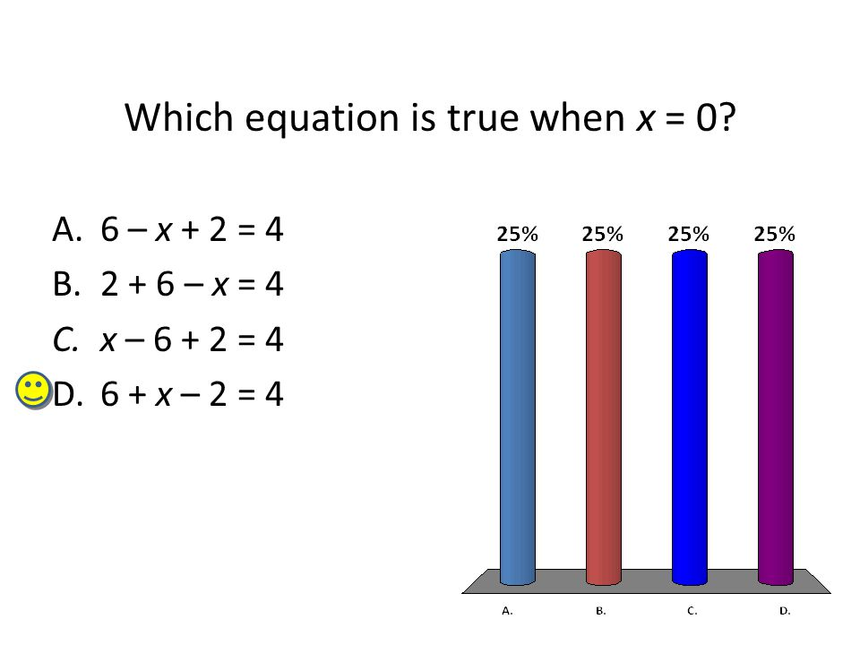 Which equation is true when x = 0? A.6 – x + 2 = 4 B.2 + 6 – x = 4 C.x – 6 + 2 = 4 D.6 + x – 2 = 4