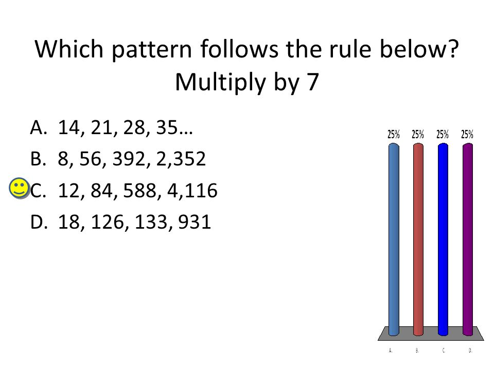 Which pattern follows the rule below? Multiply by 7 A.14, 21, 28, 35… B.8, 56, 392, 2,352 C.12, 84, 588, 4,116 D.18, 126, 133, 931