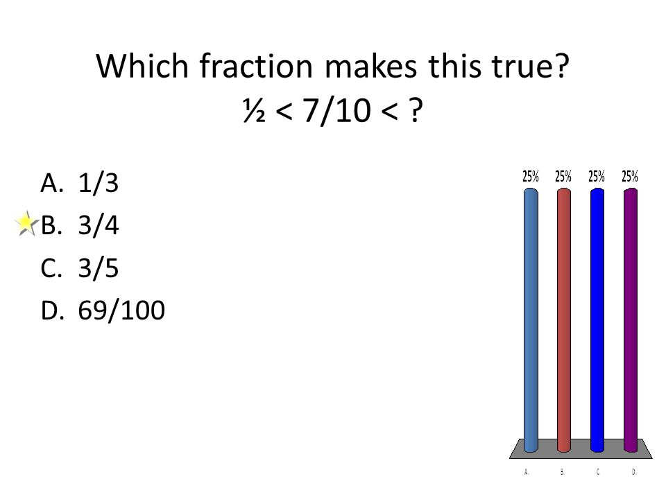 Which fraction makes this true? ½ < 7/10 < ? A.1/3 B.3/4 C.3/5 D.69/100