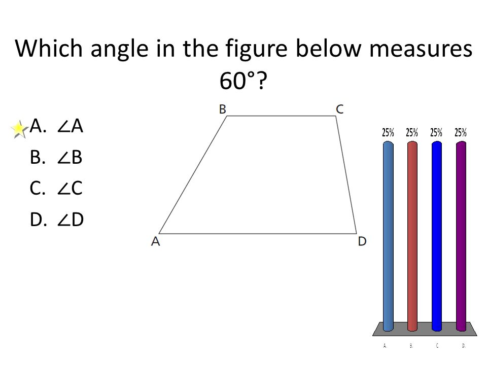Which angle in the figure below measures 60°? A. ∠ A B. ∠ B C. ∠ C D. ∠ D