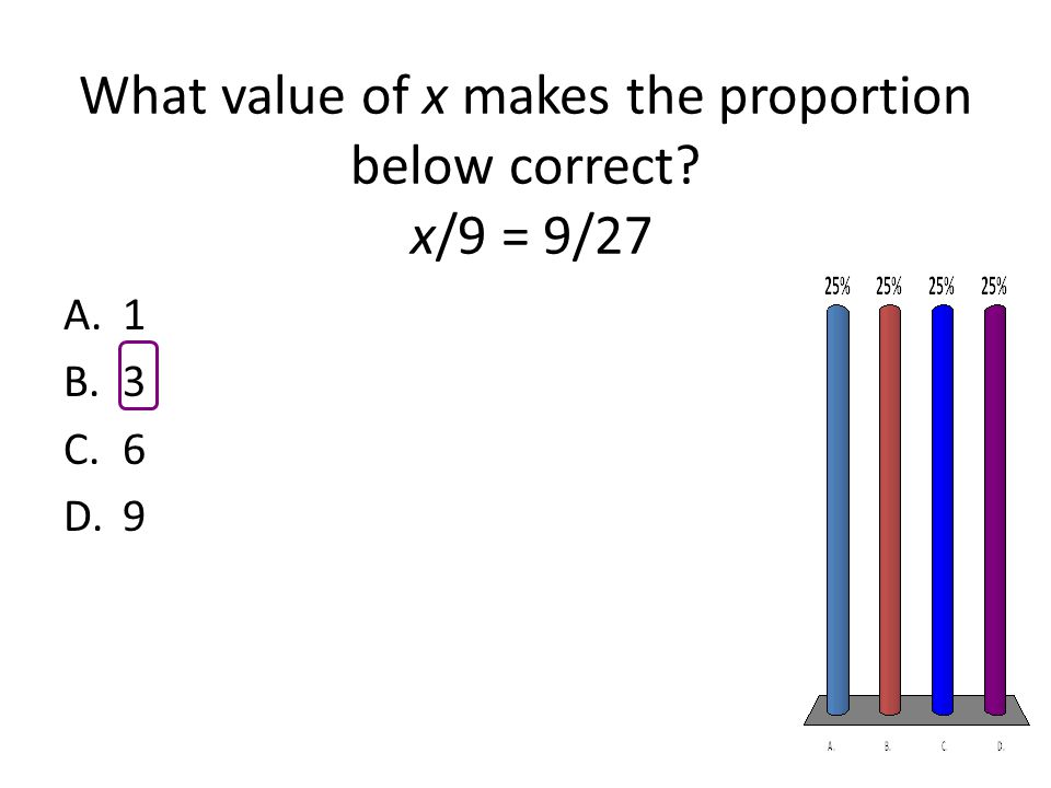 What value of x makes the proportion below correct? x/9 = 9/27 A.1 B.3 C.6 D.9