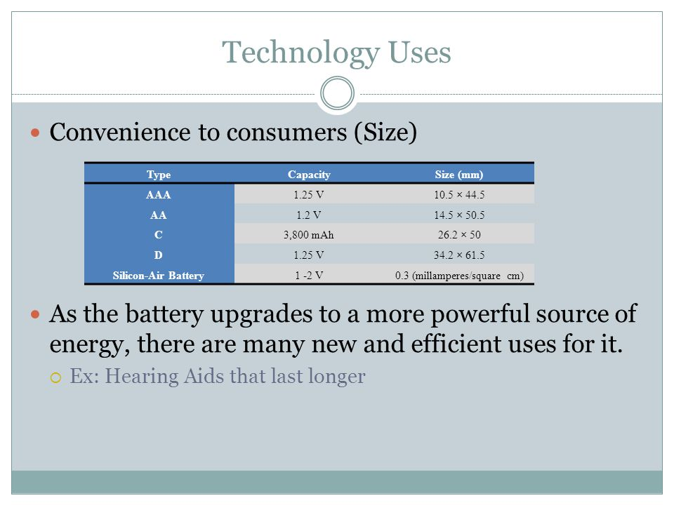 Technology Uses Convenience to consumers (Size) As the battery upgrades to a more powerful source of energy, there are many new and efficient uses for it.