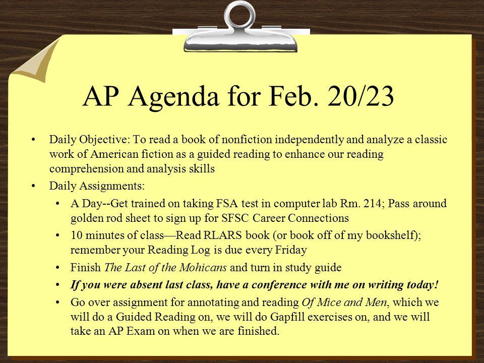 AP Agenda for Feb.