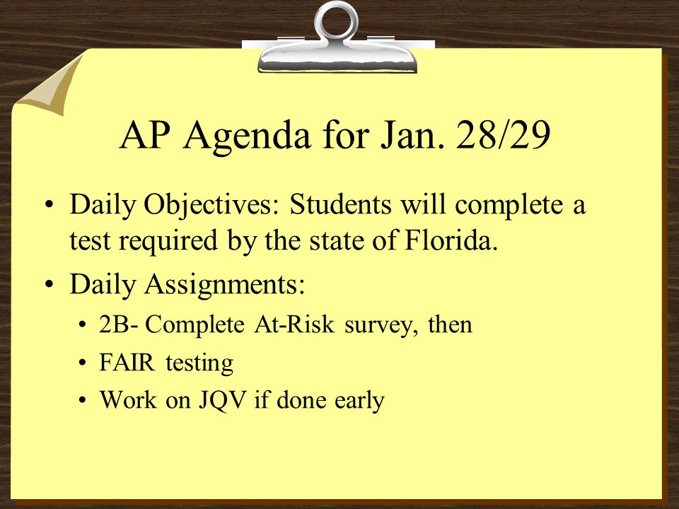 AP Agenda for Jan.
