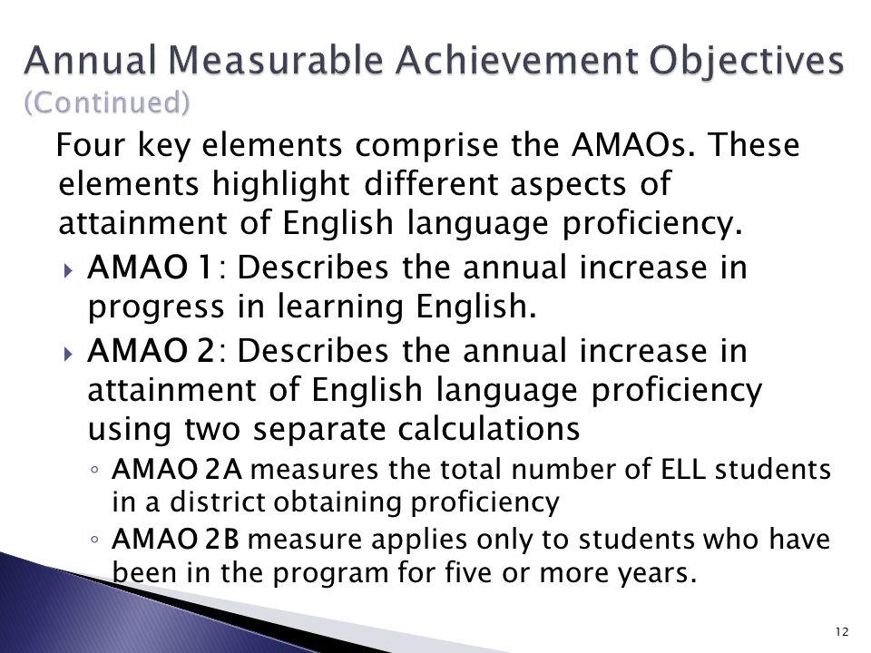Four key elements comprise the AMAOs.