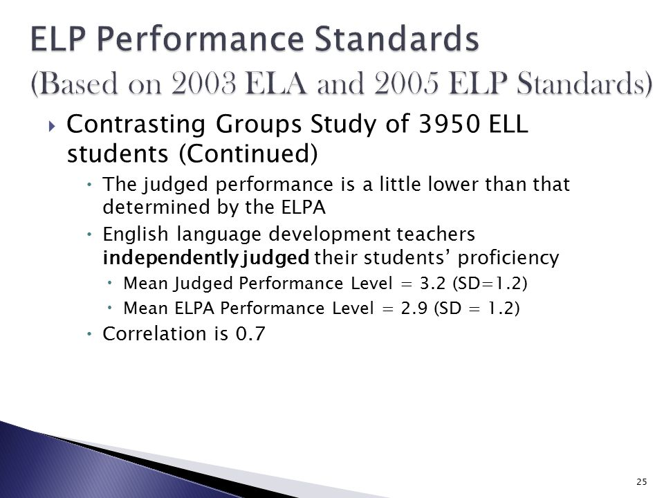  Contrasting Groups Study of 3950 ELL students (Continued)  The judged performance is a little lower than that determined by the ELPA  English language development teachers independently judged their students' proficiency  Mean Judged Performance Level = 3.2 (SD=1.2)  Mean ELPA Performance Level = 2.9 (SD = 1.2)  Correlation is 0.7 25