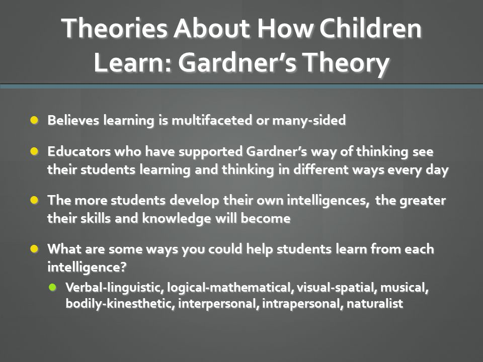 Theories About How Children Learn: Gardner's Theory Believes learning is multifaceted or many-sided Believes learning is multifaceted or many-sided Ed