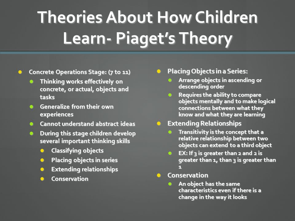 Theories About How Children Learn- Piaget's Theory Concrete Operations Stage: (7 to 11) Concrete Operations Stage: (7 to 11) Thinking works effectivel