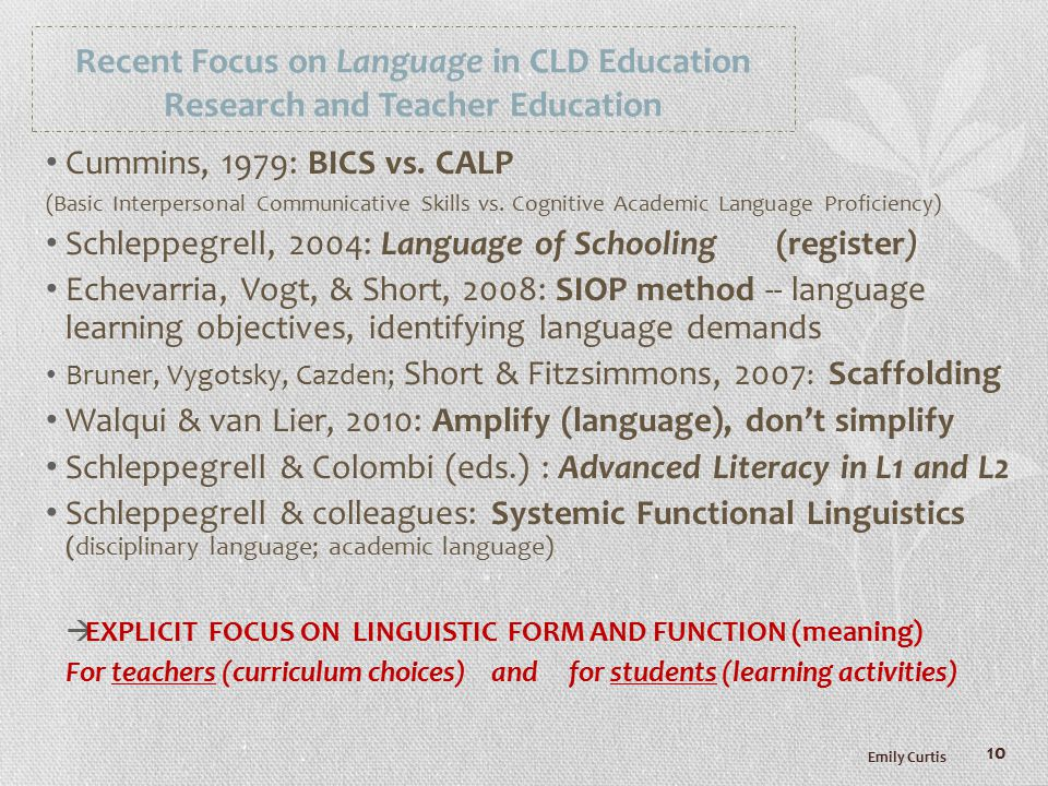 Recent Focus on Language in CLD Education Research and Teacher Education Cummins, 1979: BICS vs.