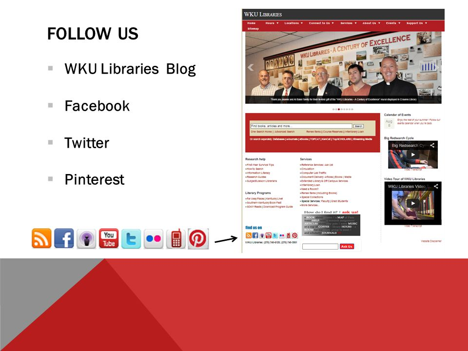 FOLLOW US  WKU Libraries Blog  Facebook  Twitter  Pinterest