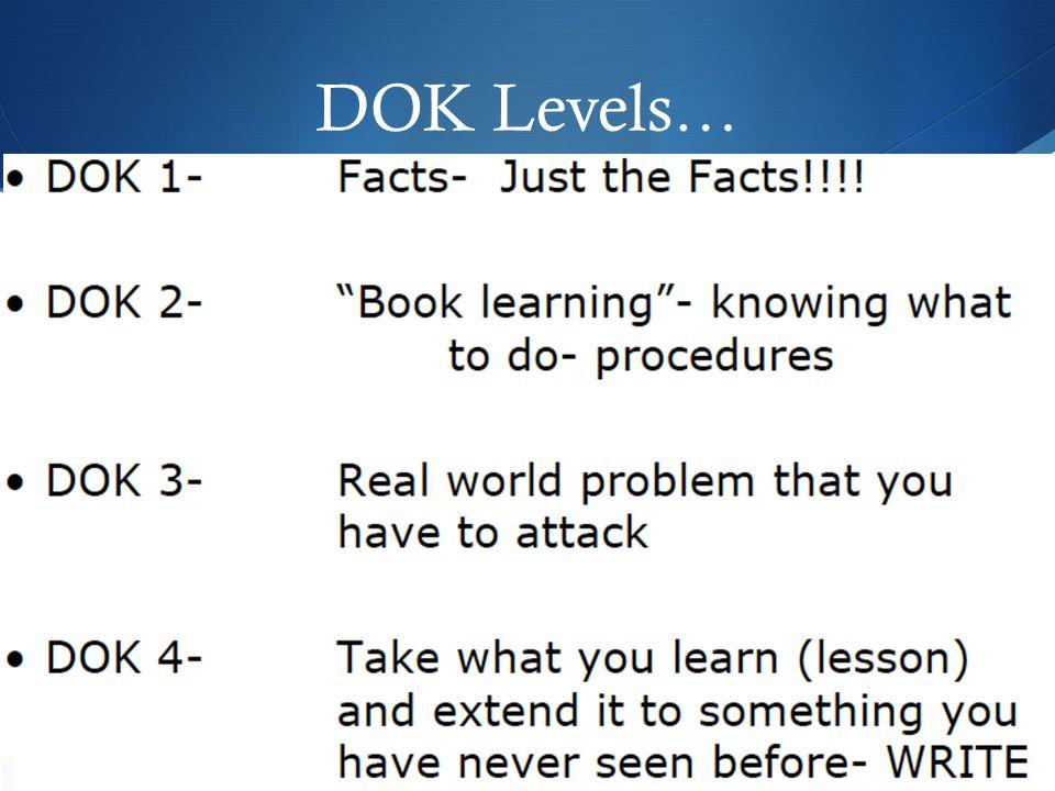 DOK Levels…