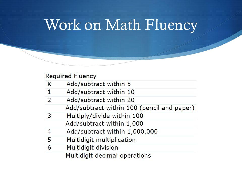 Work on Math Fluency